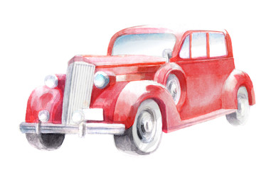 hot rod, Isolated watercolor illustration of a red retro car, drawing by hand of an old vintage car, classic, old auto on a white background for Christmas and New Year cards