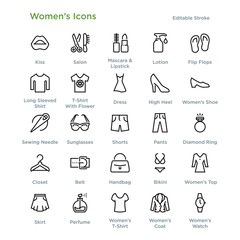 Women's Icons - Outline styled icons, designed to 48 x 48 pixel grid. Editable stroke.