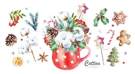 watercolor illustration of Christmas decoration: a bouquet of cotton, fir branches, sweets, cones, sweets and gingerbread in a cup, freehand drawings of cute elements and objects for the new year