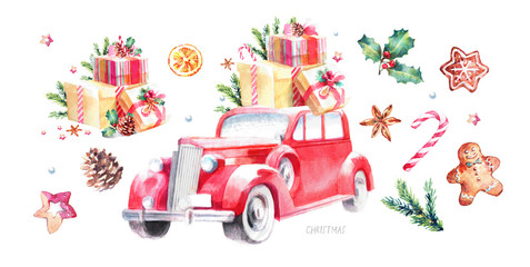 watercolor illustration of a Christmas and New Year retro car decorated with gifts, сhristmas trees, toys and sweets, cute drawing paints from a vintage old hot rod on a white background