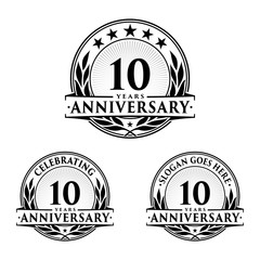 10 Years Anniversary Set. 10th Celebration Logo Collection. Vector and illustration.