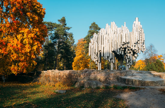 helsinki, finland - october 14, 2018: famous sibelius monument is located at helsinki finland