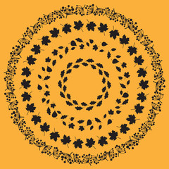 Set of seamless black round borders of various autumn foliage. Leaves of maple, oak, aspen, birch trees and dried meadow flowers. Pattern brushes are included in EPS file.