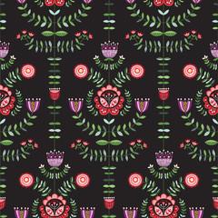 Nowoczesne ludowe jasne kwiaty na ciemnym tle Wektor bez szwu deseń. Florals. Ręcznie rysowane doodle flory - 227831836