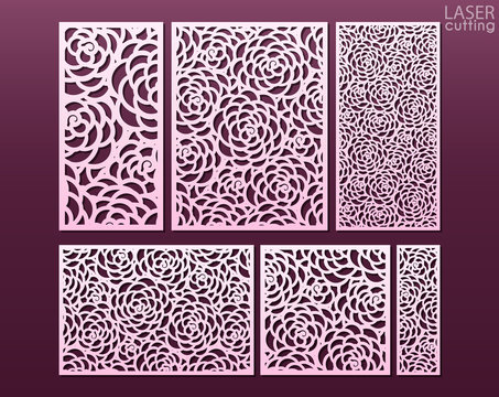 Laser and die cut ornamental panels template set with pattern of peony flowers. Ratio 1:1, 1:2, 1:3, 1:4, 2:3, 3:4. Cabinet fretwork panel. Lasercut metal panel. Wood carving.