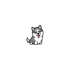 Cute siberian husky puppy cartoon icon, vector illustration