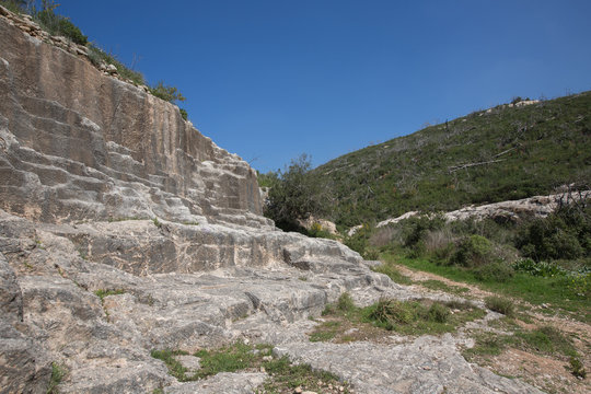 Old abandoned stone quarry on Carmel mount in Haifa, Israel