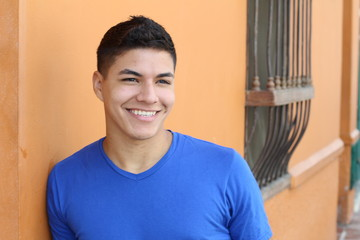 Close up portrait of a young hispanic male