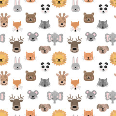 Seamless pattern of hand-drawn cute animals for kids. Bear, fox, mouse, rabbit, panda, giraffe, cat, elephant, dog, deer, lion, raccoon on a transparent background. Baby Shower, birthday, holiday.