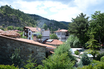 Historical old white wooden houses of Mudurnu in Turkey.