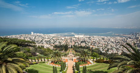 View of the Bahi garden and Haifa from the Carmel mountain northen Israel