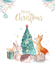 Wall Mural - Watercolor gold Merry Christmas illustration with snowman, christmas tree , holiday cute animals fox, rabbit and hedgehog. Christmas celebration cards. Winter new year design.