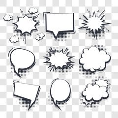 Big set hand drawn blank effects template comic speech bubbles halftone dot vector transparent background in pop art style. Dialog empty cloud, space for text. Creative comics book conversation chat