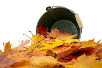 liegender Blecheimer, aus dem Ahornblätter in herbstlichen Farben fallen