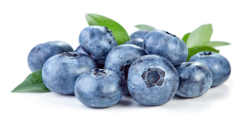 Wall Mural - heap of blueberry fruits isolated on whtie background