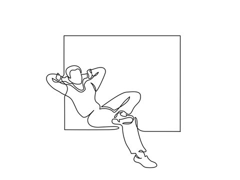 Continuous one line drawing. Young man relaxing in window, sitting. Vector illustration