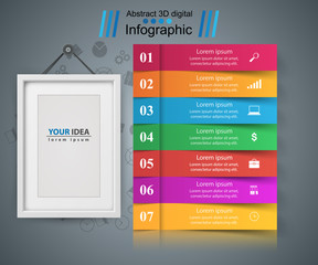 Frame, paper business infographic. Seven items Vector eps 10