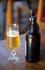 Casual photo of sweaty glass of beer