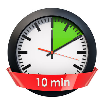 Clock face with 10 minutes timer. 3D rendering