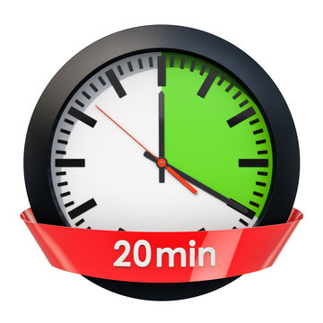 Clock face with 20 minutes timer. 3D rendering