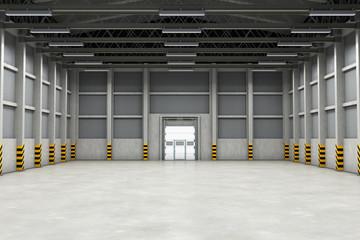 Empty warehouse interior or industrial building. 3D rendering