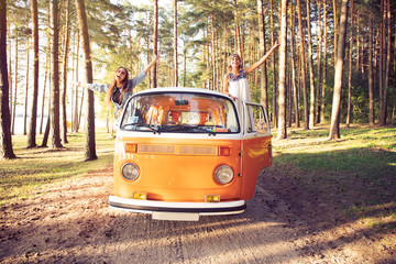 Hipster friends on road trip on a summers day Wall mural