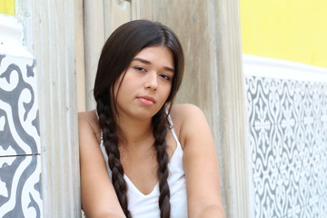 Female teenager with sad expression