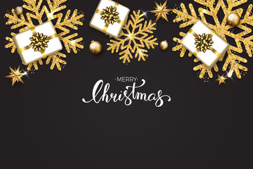 Merry Christmas text with hand lettering on black background with shining gold snowflakes, gift boxes. Festive greeting card vector Illustration