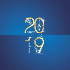 2019 Gold New Year sparkle firework blue gold illustration landscape background