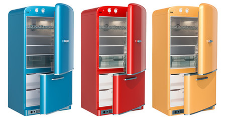 Set of colored refrigerator, retro design. 3D rendering