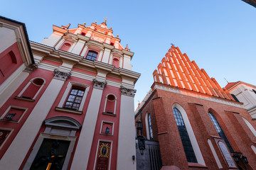 Warsaw old town. St. John`s Archcathedral and Shrine of Our Lady of Grace the Patron of Warsaw.