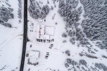 Jakuszyce in winter aerial view