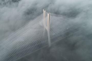 Redzinski bridge in the clouds aerial view Fototapete