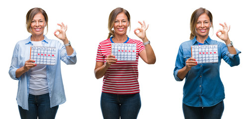 Collage of middle age hispanic woman holding menstruation calendar over isolated background doing ok sign with fingers, excellent symbol