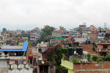 The typical buildings and tenements (including the prayer flags) around Kathmandu