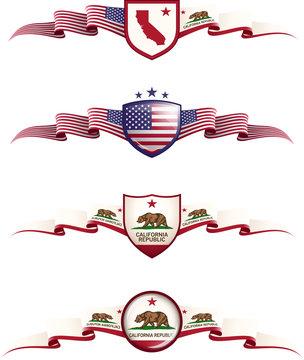 California Patriotic Banner Set