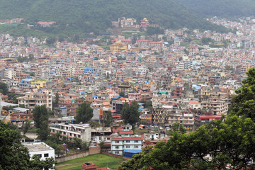 Kathmandu city, seen from the Swayambhunath Stupa on the hill