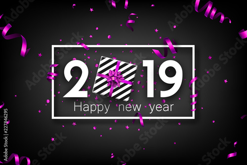 black 2019 happy new year card with purple top view gift