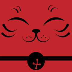 Japanese beckoning cat face close up on red background, Maneki Neko, vector illustration