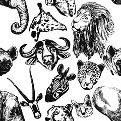 Seamless pattern of hand drawn sketch style African animals isolated on white background. Vector illustration.