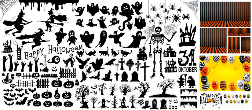 Big Set of halloween silhouettes black icon and character. Vector illustration. Isolated on white background.