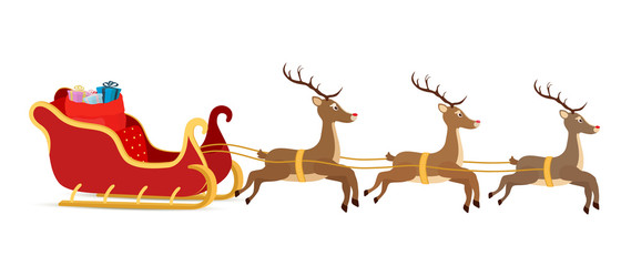 Vector cartoon sleigh, reindeers, sled of Santa Claus.