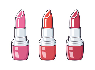 Lipstick different colors isolated.