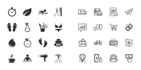 Set of Swimming pool, Spa and Hairdressing icons. Coffee, Cocktail and Apple signs. Water drop, Scissors and Hairdryer symbols. Paper plane, report and shopping cart icons. Group of people. Vector
