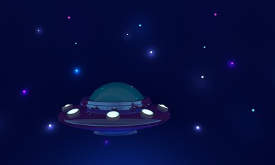 Spaceship and stars on blue background. 3d rendering