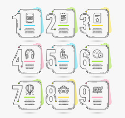 Infographic template with numbers 9 options. Set of Headphones, Air balloon and Taxi icons. Time, Ssd and Checklist signs. Phone payment, Upload file and Copyright laptop symbols. Vector