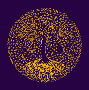 Tree of Life. A symbolic mandala light drawing on blue background. Manual hand made graphics.