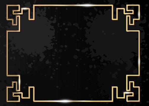 Traditional Chinese decorative golden frame. Gold luxury ornamental element for holiday design. Isolated on dark black grey splatter grunge background. Vector splash texture illustration