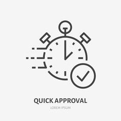Obraz Stopwatch, clock flat line icon. Fast money transaction concept sign. Thin linear logo for financial services, quick loan approval, cash transfer, online payment, delivery vector illustration. - fototapety do salonu