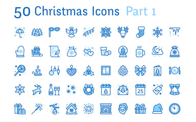 Merry Christmas, new year flat line icons. Gifts, snowflakes, presents, letter to santa claus, decoration, winter angel vector illustrations. Thin signs xmas sale. Pixel perfect 48x48. Editable Stroke